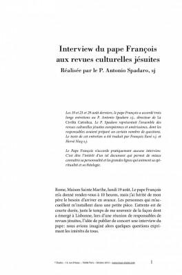 """Afficher """"Interview du Pape François aux revues culturelles jésuites"""""""