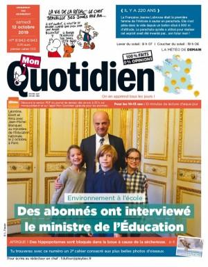 """Afficher """"Mon Quotidien n° 6942 - 6943 Mon Quotidien - samedi 12 octobre 2019 - lundi 14 octobre 2019"""""""